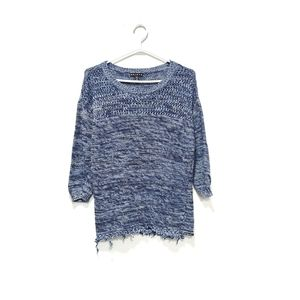 Tribal Blue Knit Fringe Sweater Small